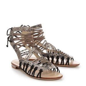 Schutz Black Snakeskin Gladiator Sandals Size 6